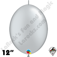 Qualatex 12 inch Quick Link Metallic Silver Balloons 50ct