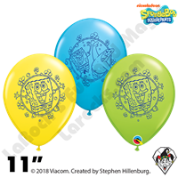 Qualatex 11 Inch Round SpongeBob SquarePants Assortment Balloons 50ct