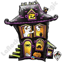 31 Inch Shape Haunted House Foil Balloon Qualatex 1ct