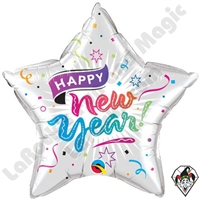 Qualatex 20 inch Star New Year Confetti & Stars Foil Balloon 1ct