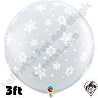 Qualatex 3 Foot Round Snowflake Diamond Clear Balloons