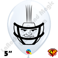 Qualatex 5 Inch Round Football Helmet White Balloons by Dylan Rowe 100ct