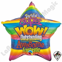 Qualatex 20 Inch Star WOW! Stripes Foil Balloon 1ct