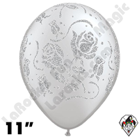 11 Inch Round Glitter Roses-A-Round Silver Balloon Qualatex 25ct