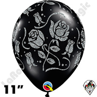 Qualatex 11 Inch Round Glitter Roses-A-Round Onyx Black White Print Balloons 50ct