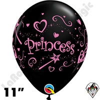 11 Inch Round Princess Pink Onyx Black Balloon Qualatex 50ct