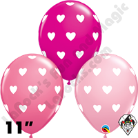 Qualatex 11 Inch Round Big Hearts Assortment Balloons 50ct