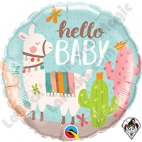 18 Inch Round Hello Baby Llama Foil Balloon Qualatex 1ct