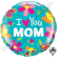 Qualatex 18 Inch Round I (HEART) You Mom Foil Balloon 1ct