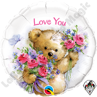 18 Inch Round Love You Teddy Bear Foil Balloon Qualatex 1ct