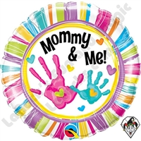 18 Inch Round Mommy & Me Handprints Foil Qualatex Balloon 1ct