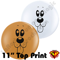 Qualatex 11 Inch Round Puppy Face Top Print Balloons by Juan Gonzales 50ct