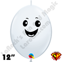 12 Inch Quick Link Happy Ghost White Balloons by Corinne Sparkles Smith Qualatex 50ct