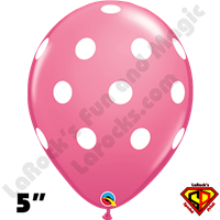 Qualatex 5 Inch Round Big Polka Dot Rose with White Dots Balloons 100CT