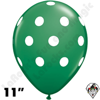 Qualatex 11 Inch Round Big Polka Dots Green w White Balloons 50ct