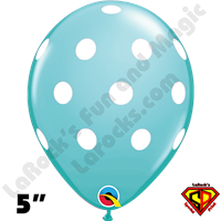 Qualatex 5 Inch Round Big Polka Dot Caribbean Blue White Dots Balloons 100CT