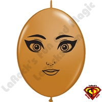 12 Inch Quick Link Megan Face Mocha Brown Balloons by Juan Gonzales Qualatex 50ct