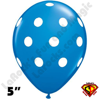 Qualatex 5 Inch Round Big Polka Dot Dark Blue White Dots Balloons 100CT
