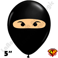 5 Inch Round Ninja Black w/ skin-tone Qualatex 100ct
