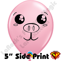 5 Inch Round Pig Face Side Print Balloons by Jamie Stepanek Qualatex 100ct