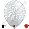 Qualatex 5 Inch Round Damask Metallic Silver with White Balloons 100ct