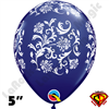 Qualatex 5 Inch Round Damask Navy Blue with White Balloons 100ct