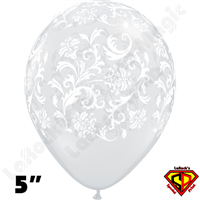 Qualatex 5 Inch Round Damask Diamond Clear Balloons 100ct