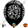 Qualatex 5 Inch Round Damask Onyx Black with White Balloons 100ct
