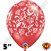 Qualatex 5 Inch Round Damask Ruby Red with White Balloons 100ct