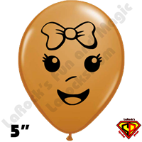 Qualatex 5 Inch Round Baby Girl Face Mocha Brown Balloons 100CT