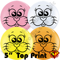 5 Inch Round Top Print Cute Kitty Balloon by Juan Gonzales Qualatex 100ct