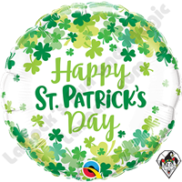 18 Inch Round St. Patrick's Shamrock Confetti Foil Balloon Qualatex 1ct