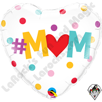 18 Inch Heart #M(Heart)M Dots Foil Balloon Qualatex 1ct