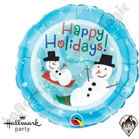 Qualatex 18 Inch Round Happy Holidays Snowmen Foil Balloon 1ct