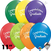 11 Inch Round Assortment Graduation Script Carnival Balloon Qualatex 50ct