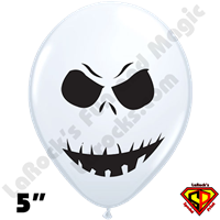 Qualatex 5 Inch Round Scary Face WHITE ONLY Balloons 100ct