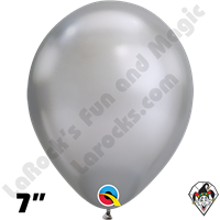 Qualatex 7 Inch Round Chrome Silver Balloons 100ct