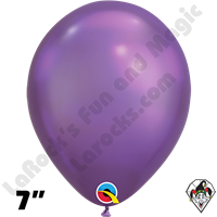 Qualatex 7 Inch Round Chrome Purple Balloons 100ct