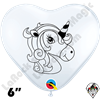 6 Inch Heart Unicorn White Qualatex 100ct