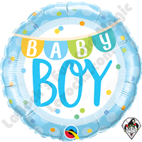 18 Inch Round Baby Boy Banner & Dots Foil Balloon Qualatex 1ct