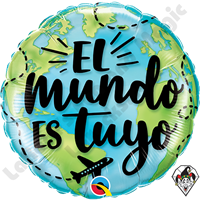 18 Inch Round El Mundo Es Tuyo (The World Is Yours) Foil Balloon Qualatex 1ct