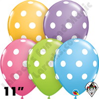 Qualatex 11 Inch Round Big Polka Dots Spring Assortment Balloons 50ct