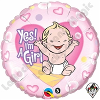 Qualatex 18 Inch Round Yes I'm A Girl Foil Balloon