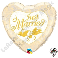 36 Inch Heart Just Married Ivory & Gold Foil Balloon Qualatex 1ct