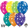 11 Inch Round Assortment Shooting Stars & Stars-A-Round Fantasy Balloon Qualatex 50ct
