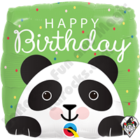 18 Inch Square Birthday Panda Foil Balloon Qualatex 1ct.