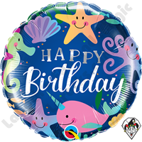 18 Inch Round Birthday Fun Under The Sea Foil Balloon Qualatex 1ct.