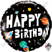 18 Inch Round Birthday Astronaut Foil Balloon Qualatex 1ct.