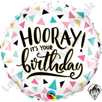 18 Inch Round Birthday Hooray Foil Balloon Qualatex 1ct.