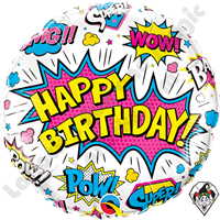 18 Inch Round Birthday Super Hero White Foil Balloon Qualatex 1ct.